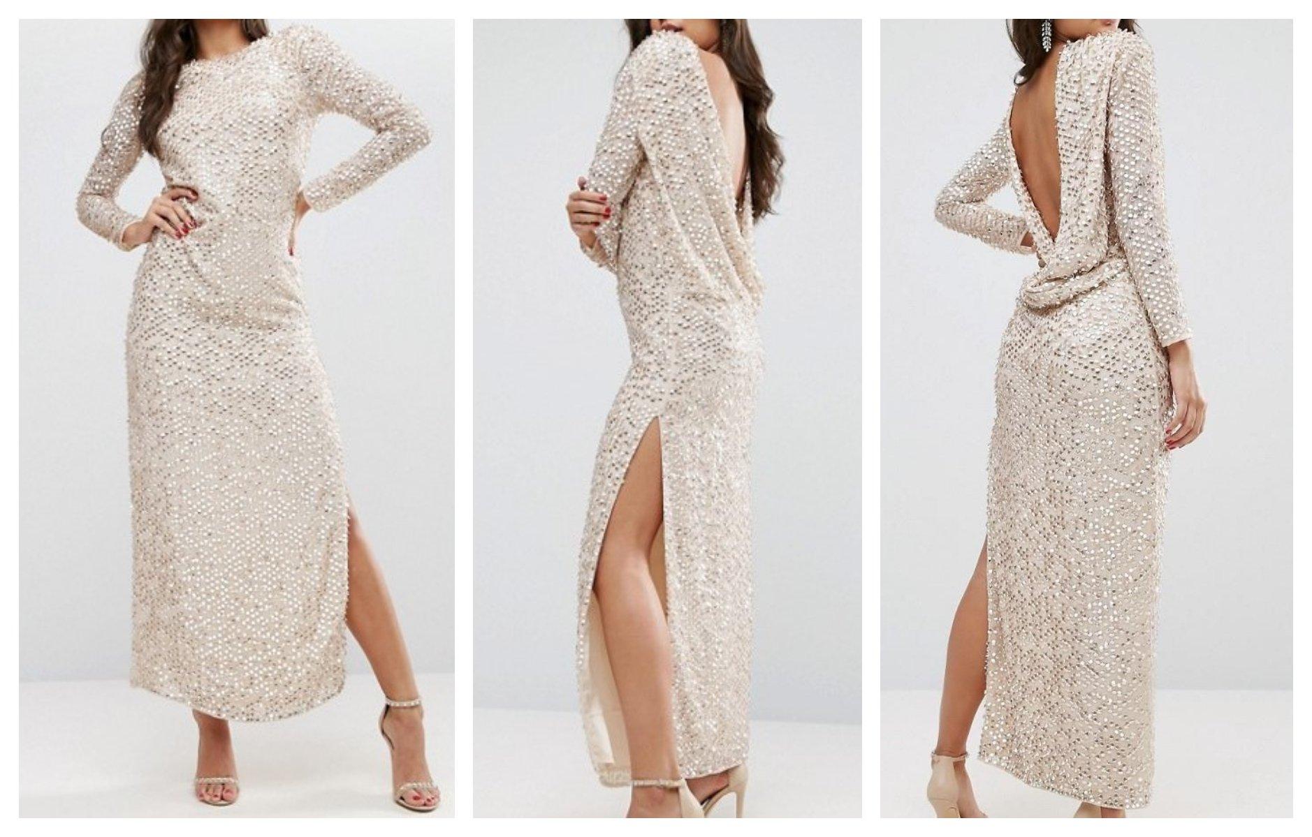 Ex90 Sukienka Cekiny Długa Glamour Wesele 38 M 7350278398