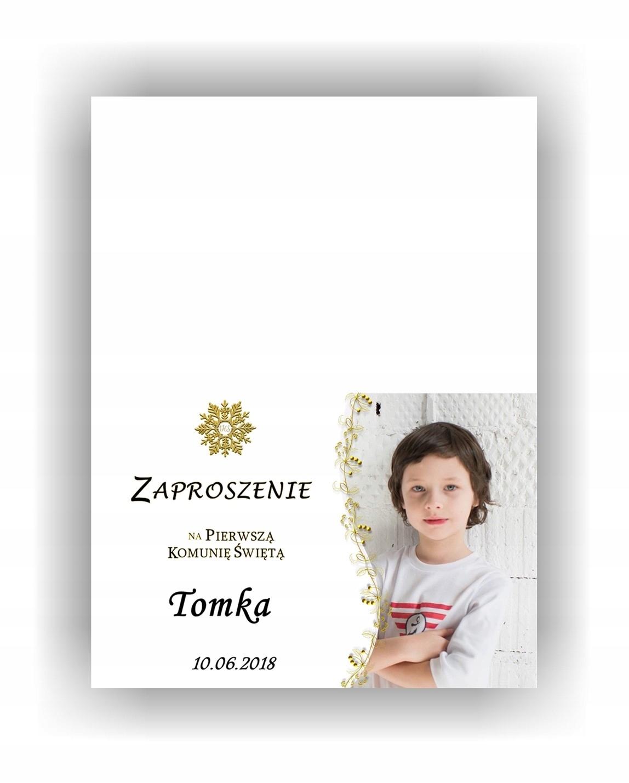 Zaproszenia Komunijne Na Komunię Ze Zdjęciem Złote 7229529809