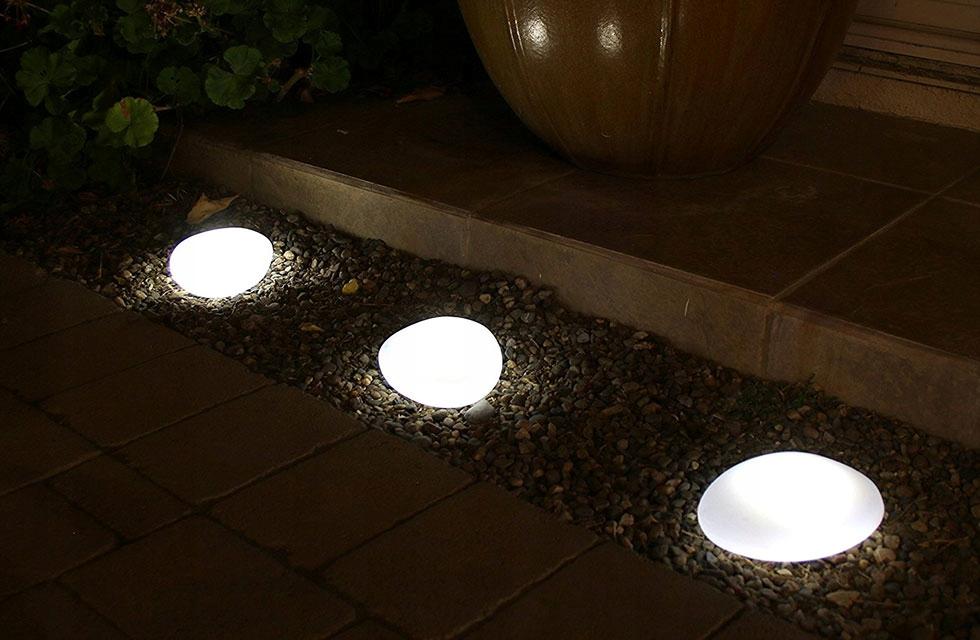 Lampa Solarna W Kształcie Kamienia Ozdoba Ogrodowa