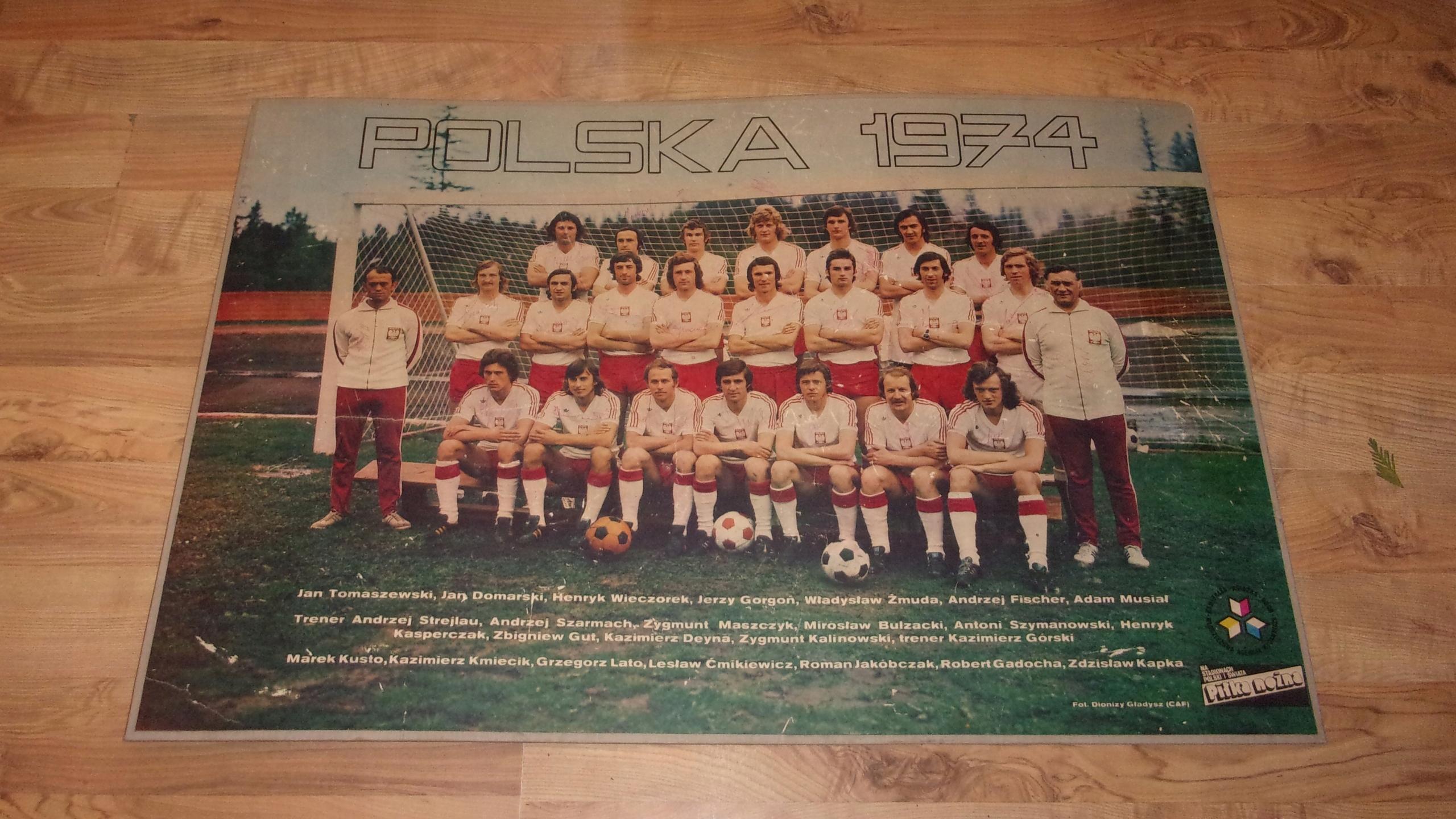 Plakat Polska 1974 Autografy Piłkarzy