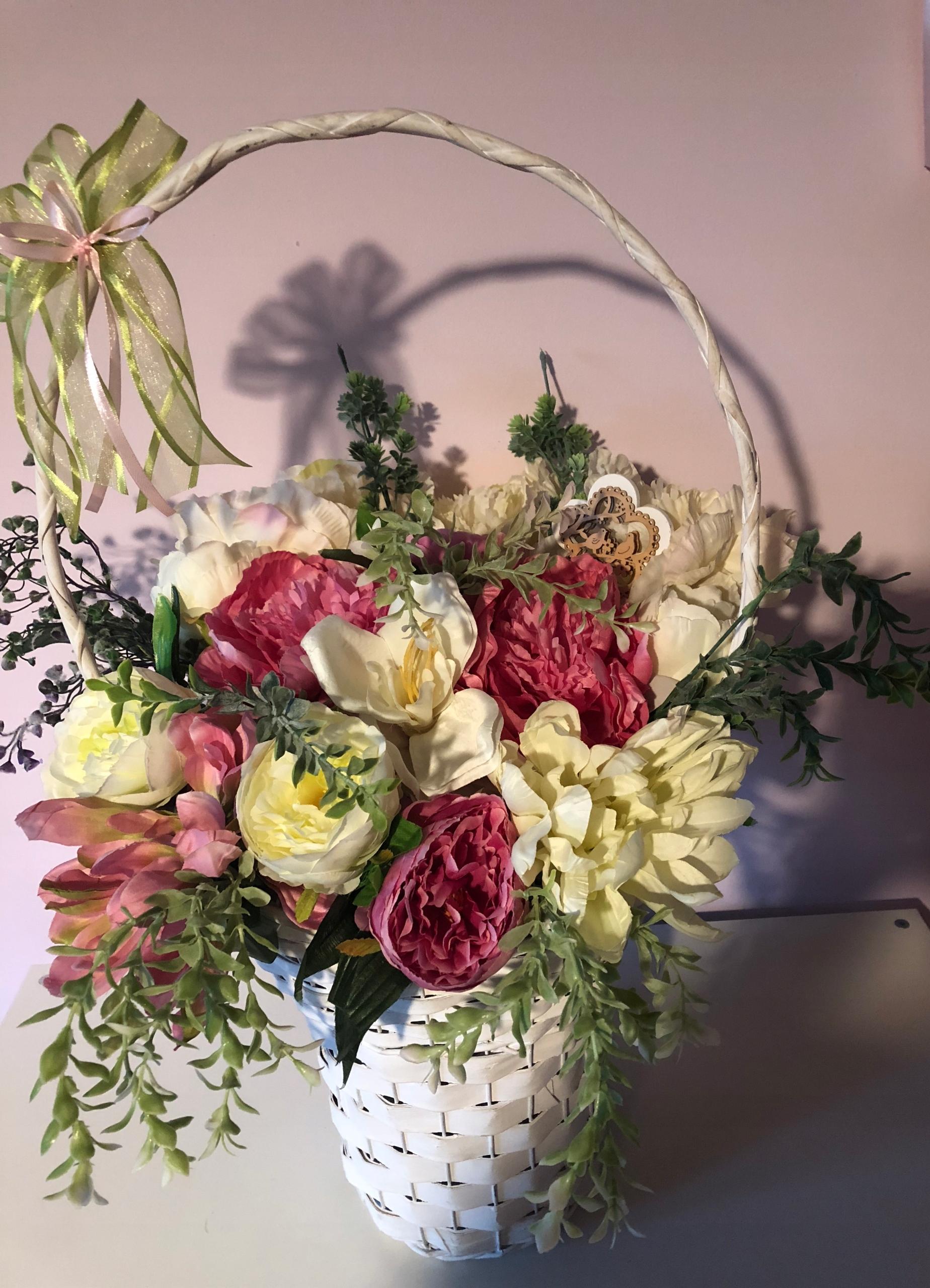 Zaktualizowano Kompozycja kwiatowa bukiet kwiatów w koszu - 7650694082 QN75