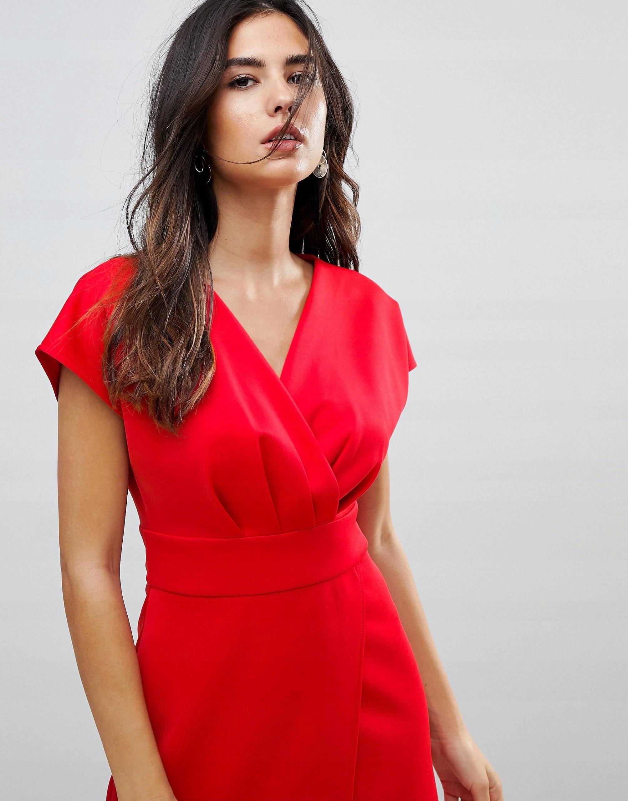 9239de63ca Czerwona Mini Sukienka Marszczona S 36 - 7551169479 - oficjalne ...