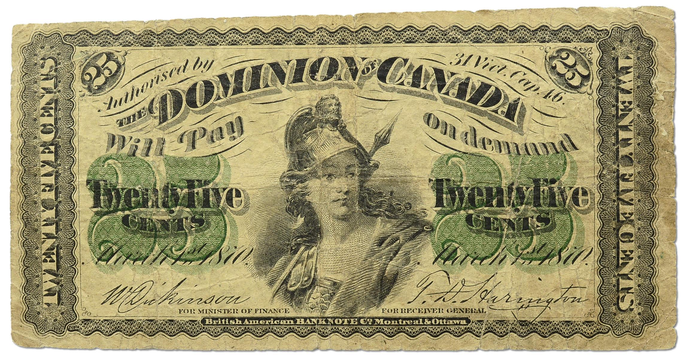 39.bf.Canada, 25 Centów 1870 rzadsza, P.8.a, St.3
