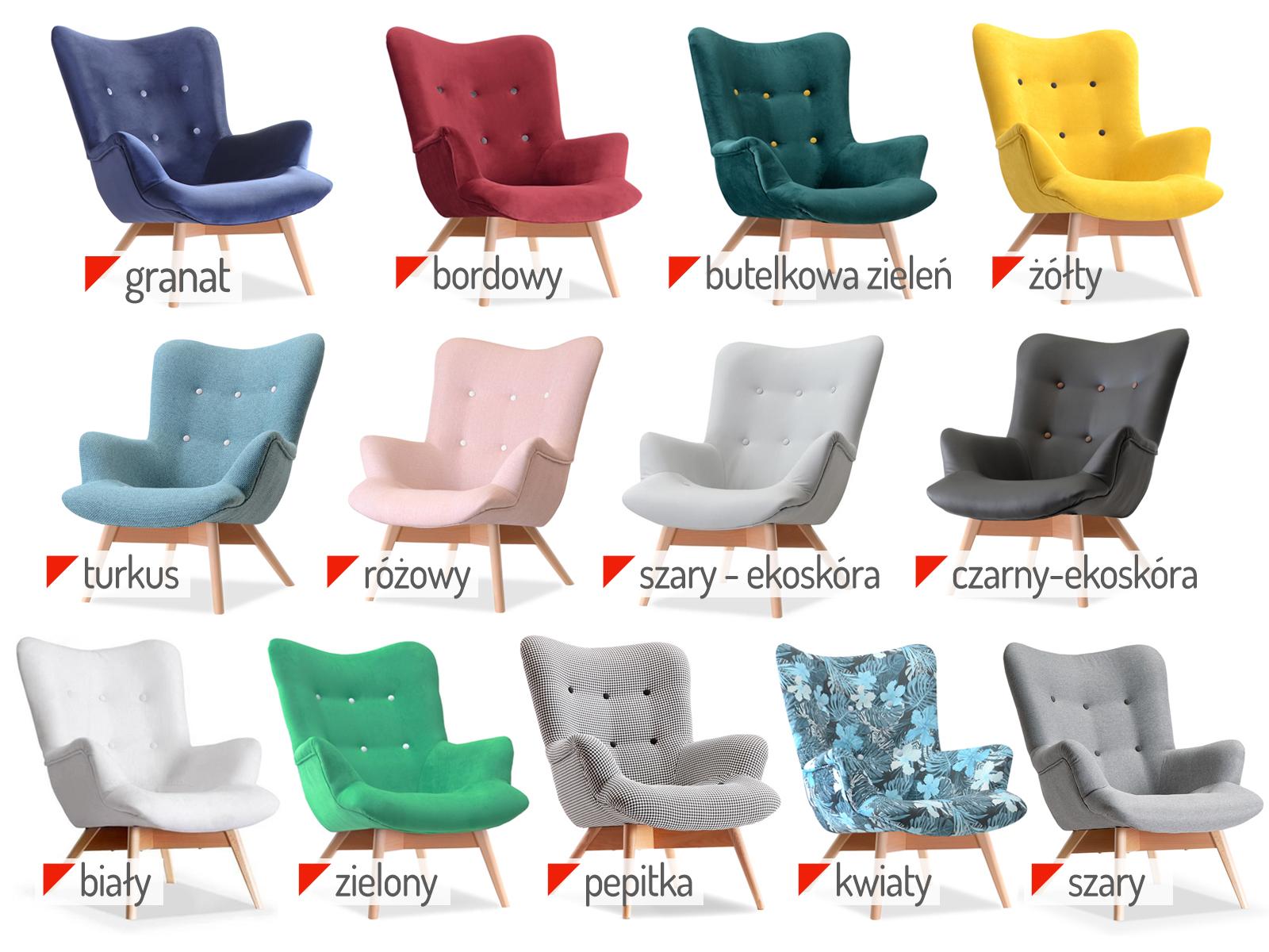 Pikowany Fotel Do Sypialni Drewniane Nogi Flori 7006160669