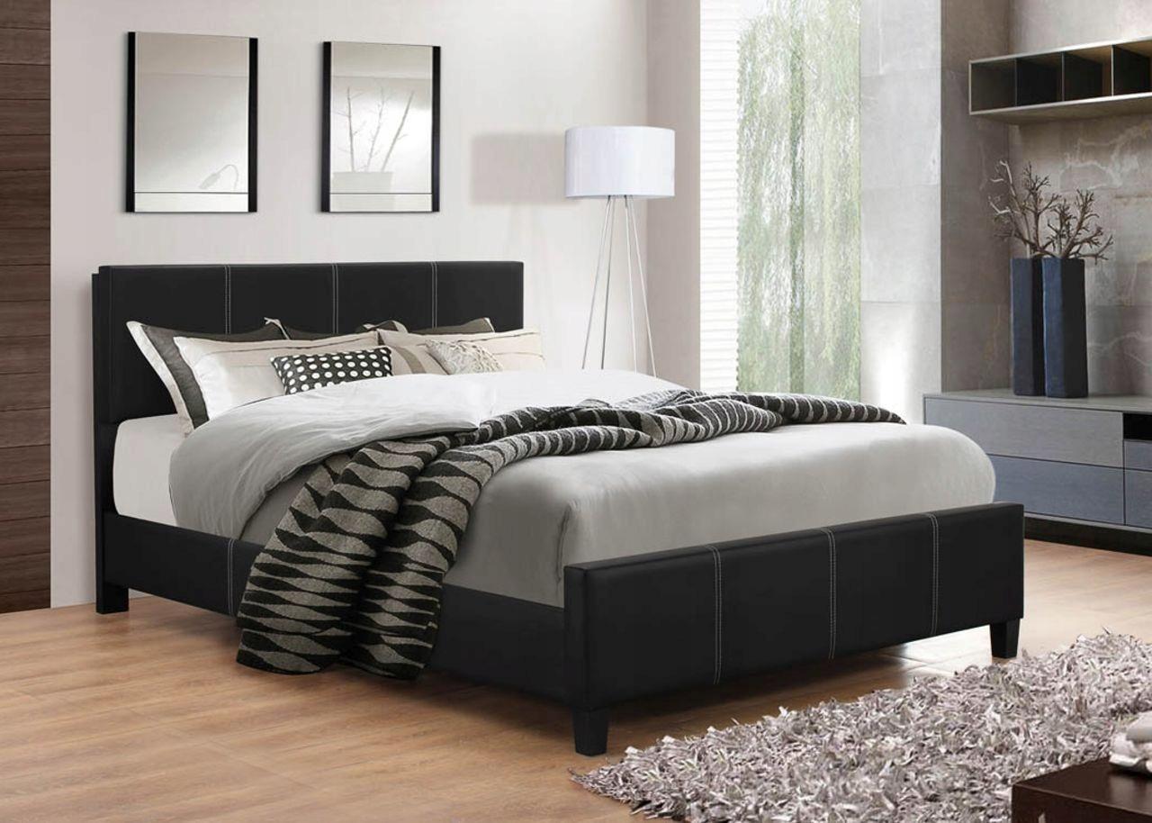 łóżko Tapicerowane 140x200 Czarne Materac Okazja 7422397370