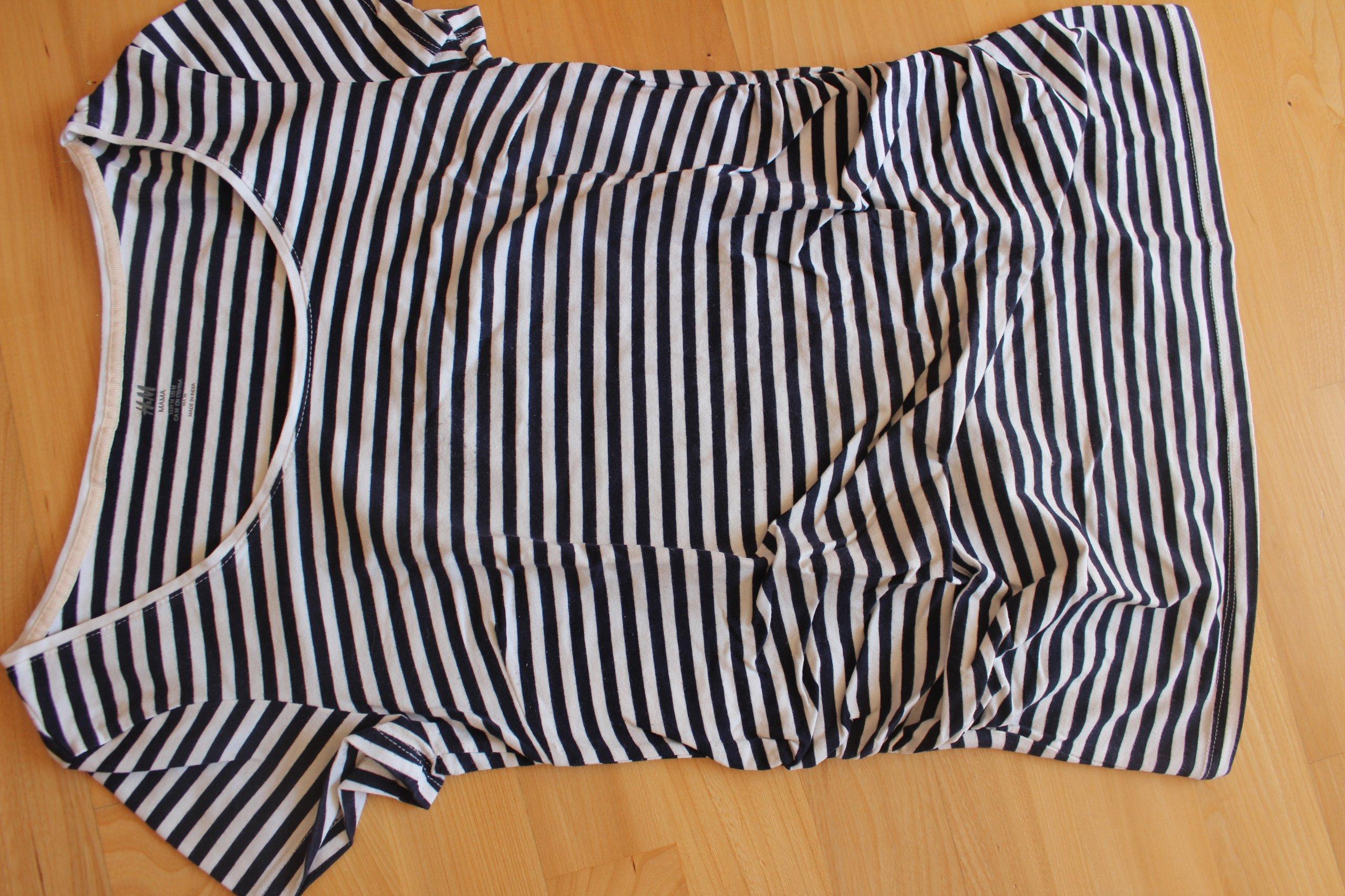 b72bfdf9f5dd57 bluzka t-shirt h&m ciążowa mama 38 m paski - 7360471751 - oficjalne ...