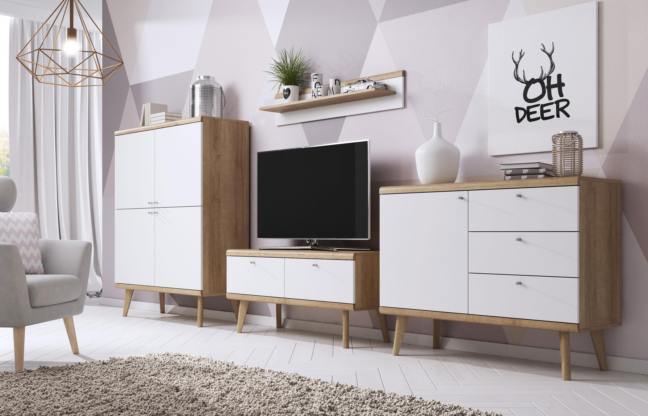 Zestaw Salon Poro Bialy Skandynawski Drewno Hit 6888665670