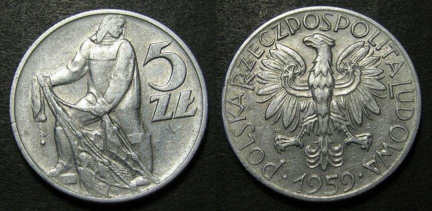 5 zł złotych Rybak 1959 - ŁADNA