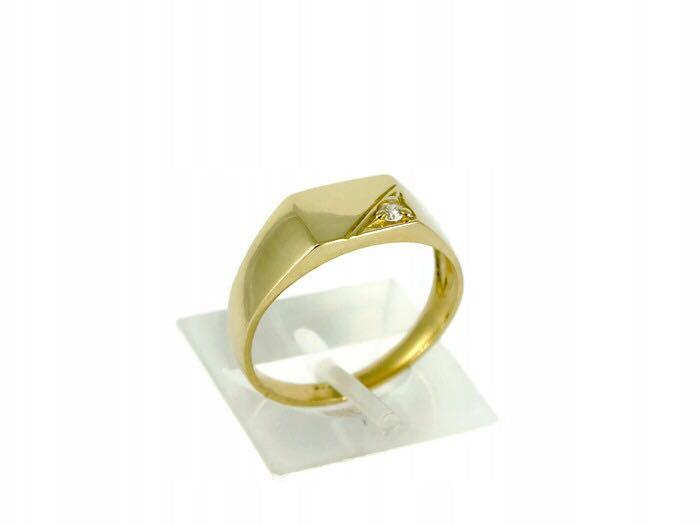 elegancki sygnet złoty z cyrkonią pr 585