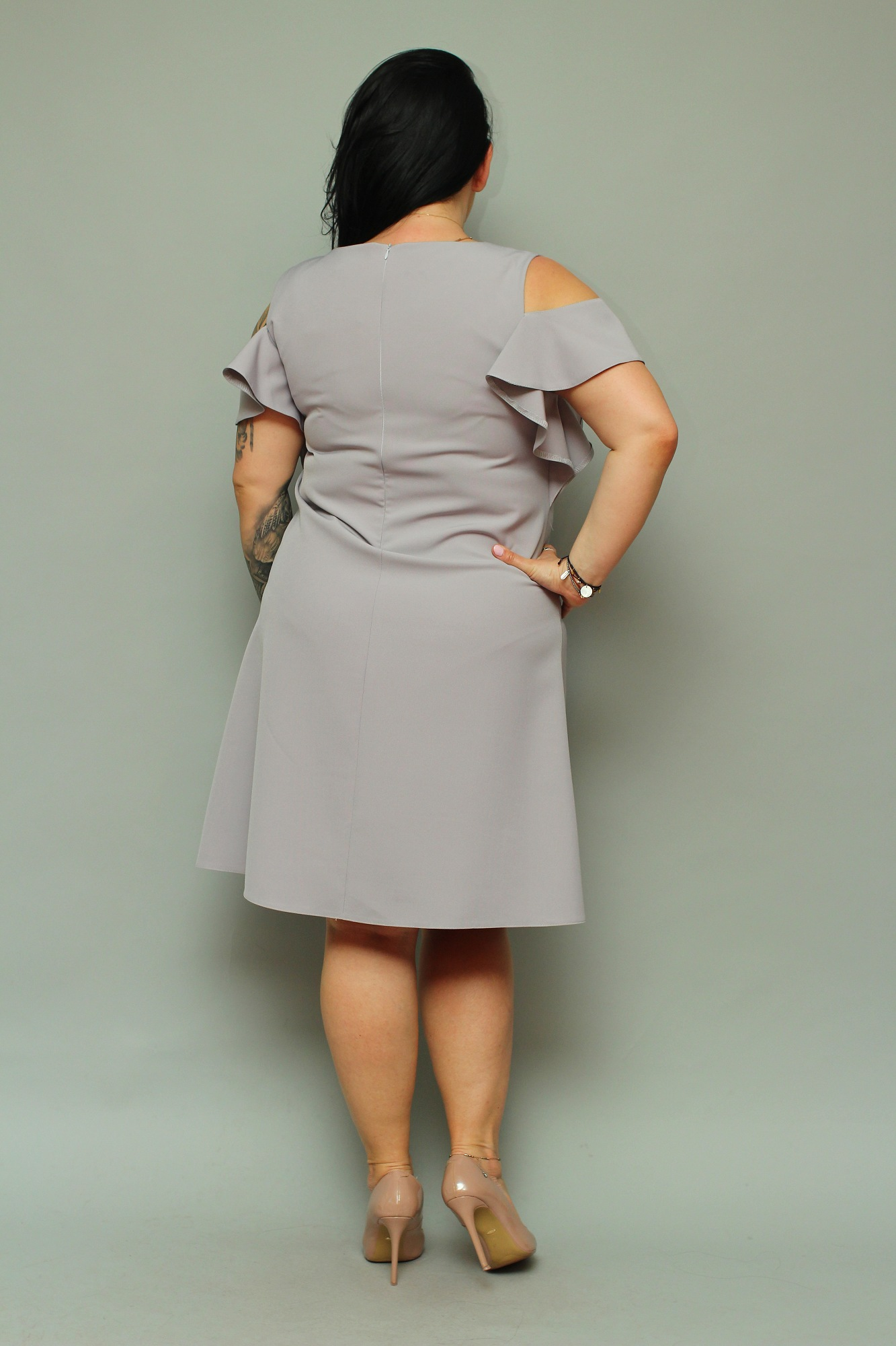 fc4bd9e59f Sukienka FLORA trapez odkryte ramiona popiel 50 - 7303158072 ...