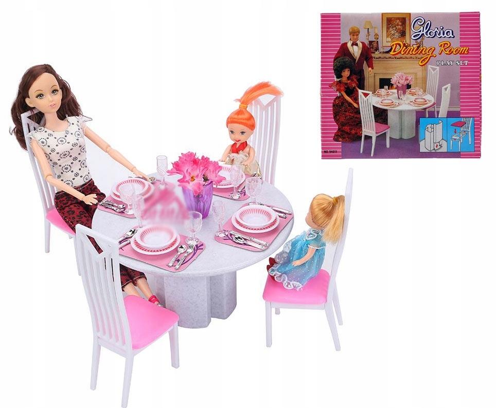 Jadalnia Okrag Stol Krzesla Mebelki Barbie Educore 7540026907