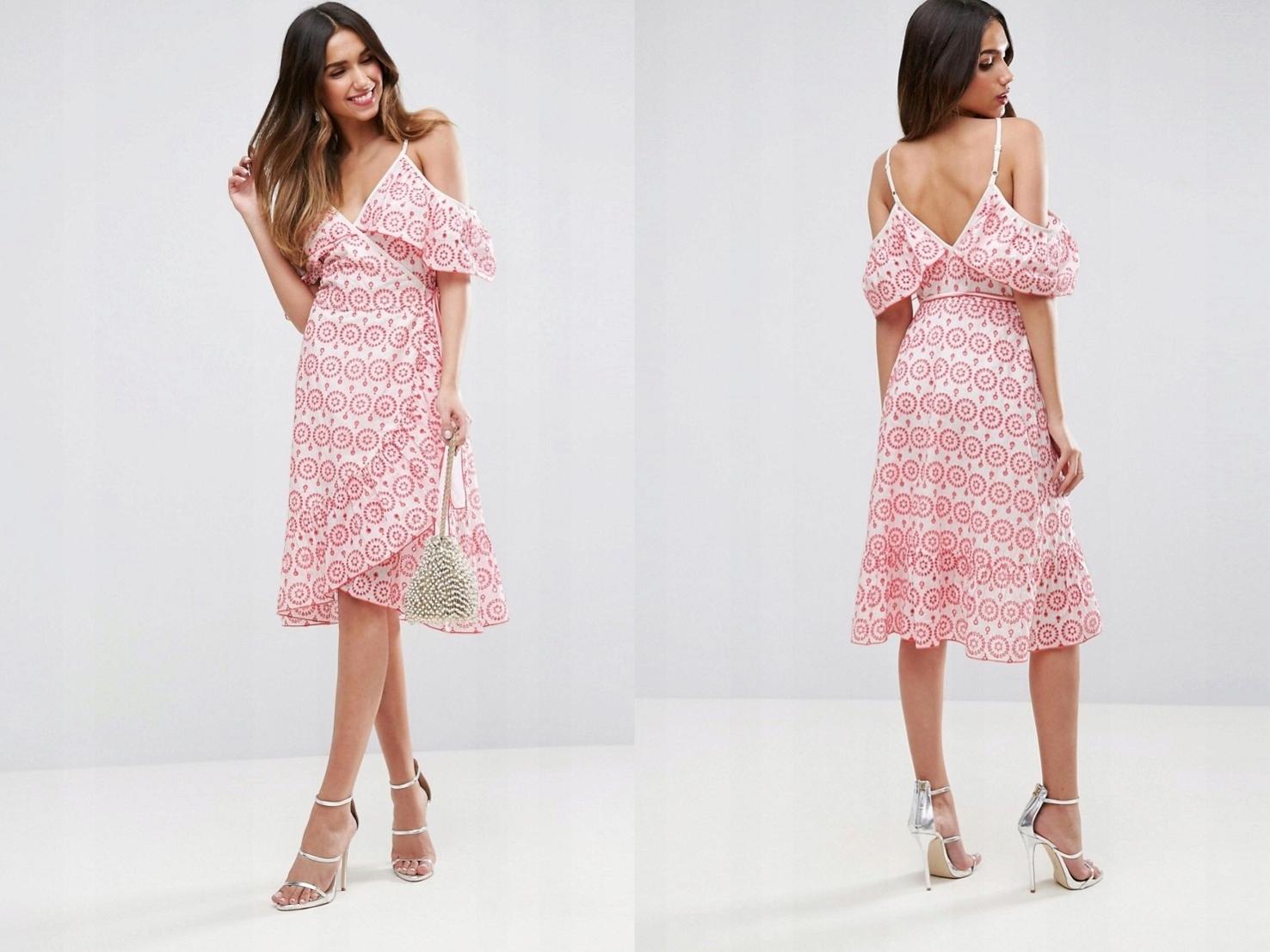 787b9e390d Biało-różowa sukienka wiązana z falbaną XXS 32 - 7505674869 ...