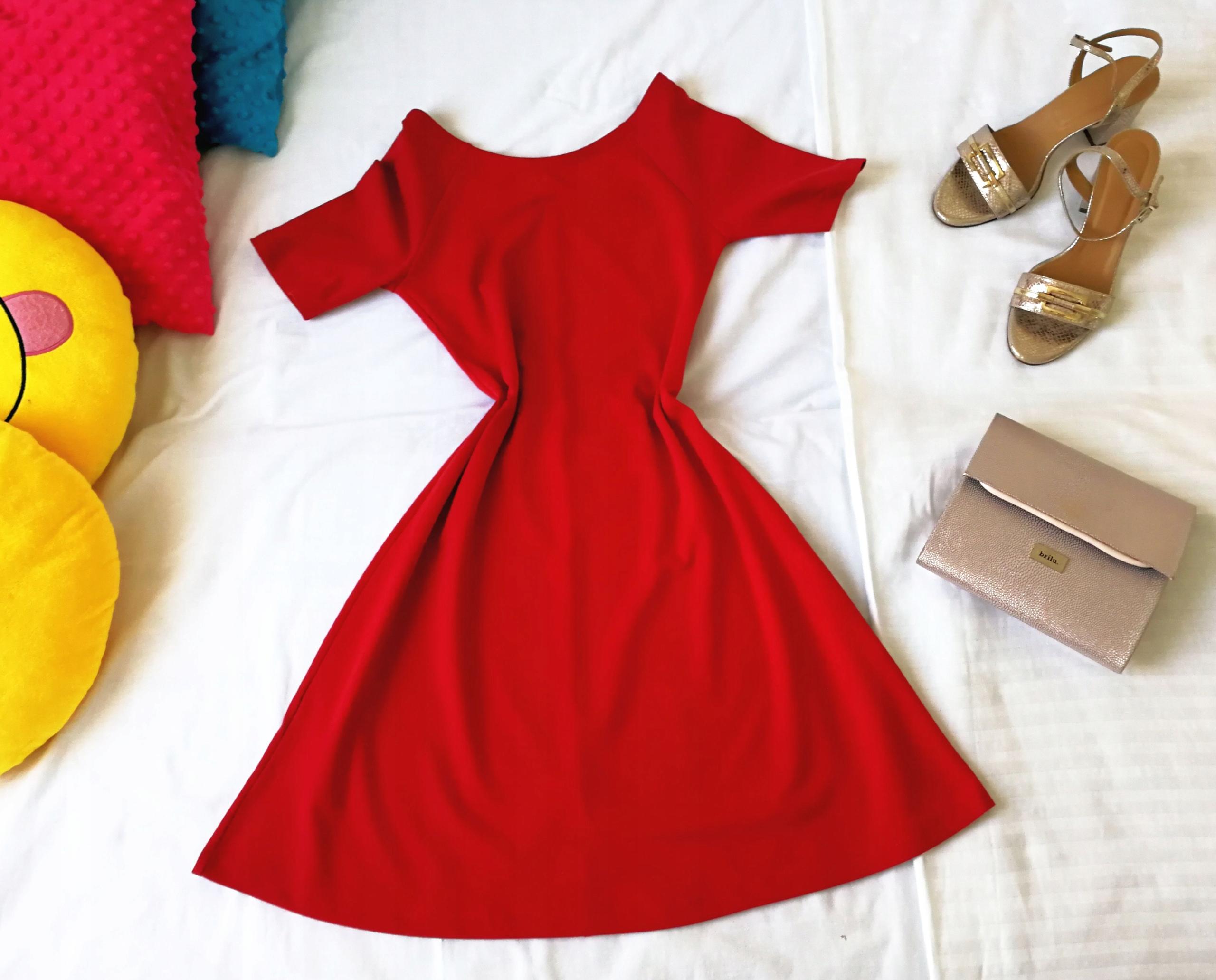 ZARA TRF sukienka czerwona S 7591305274 oficjalne