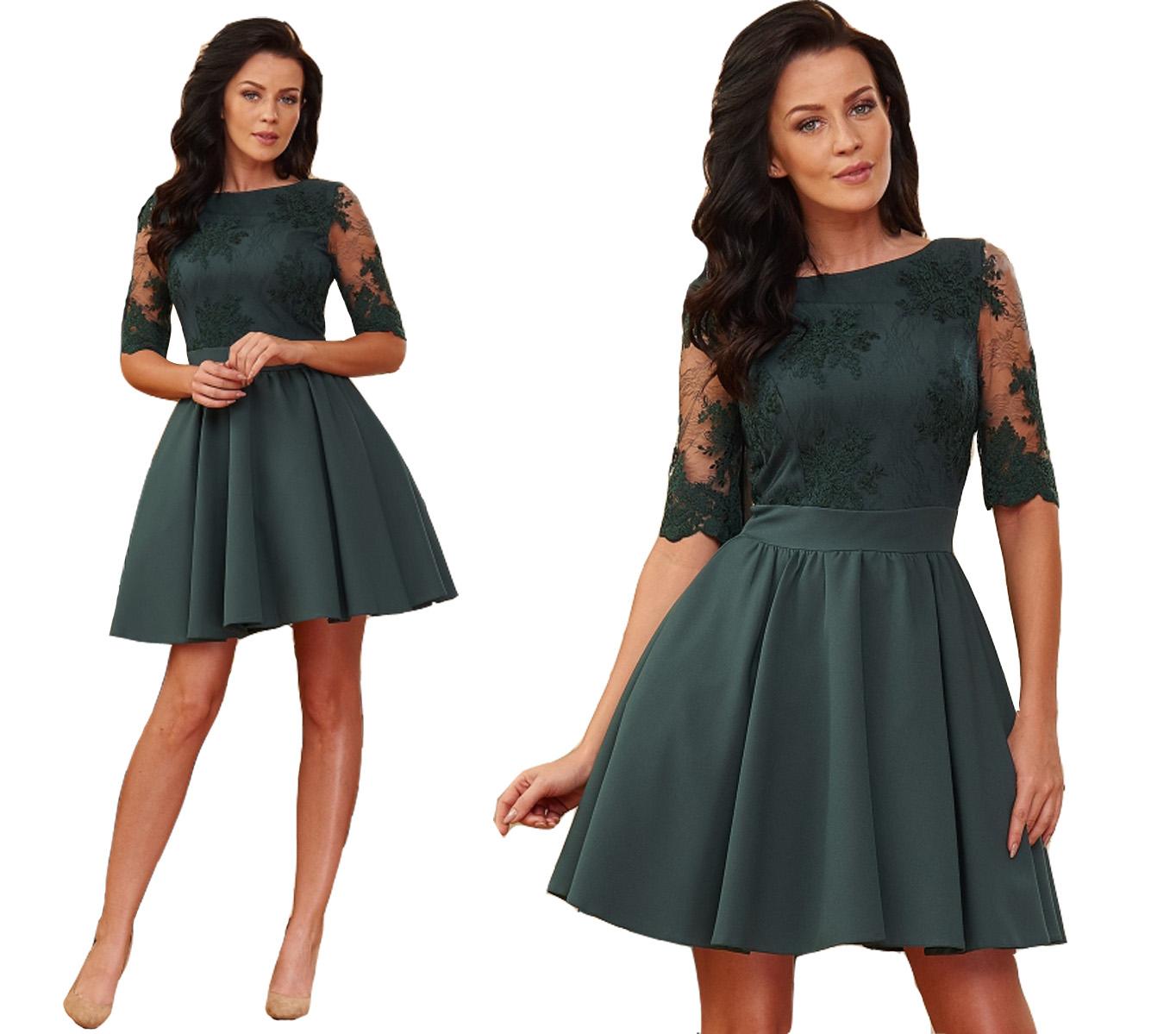 d55be94308 Sukienka elegancka wesele plecy 40 koronka - 7080953258 - oficjalne ...
