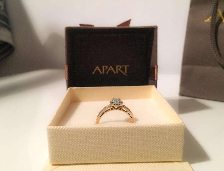 Masywnie Złoty pierścionek zaręczynowy APART diamenty 0,18c - 7435239743 NC88