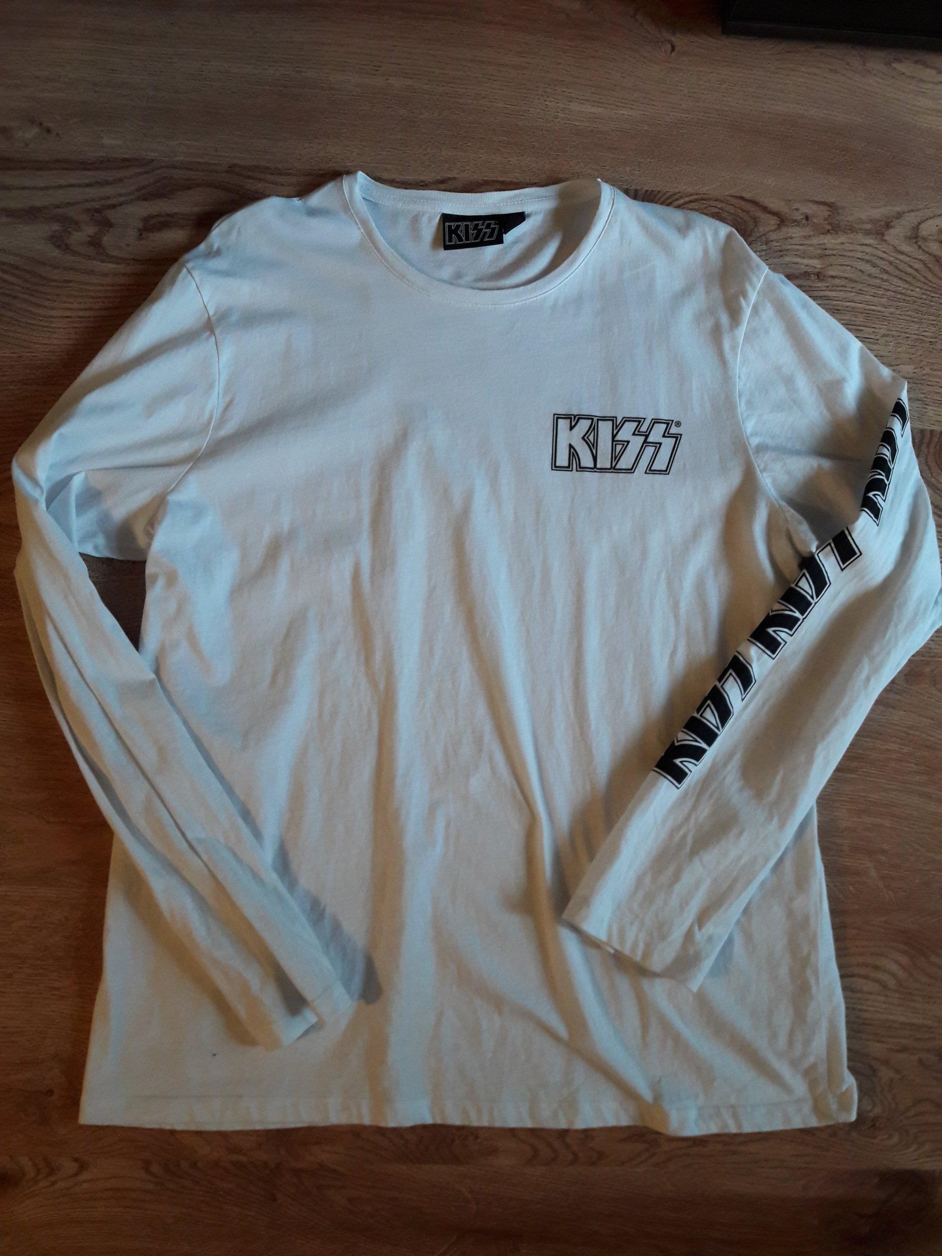 biała bluza z kapturem kiss