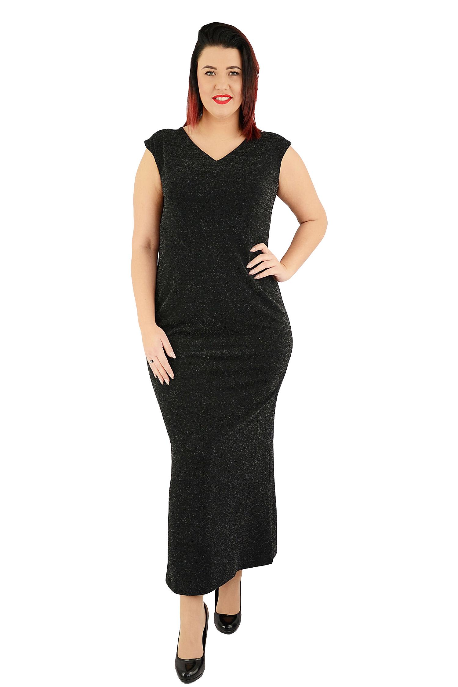 4489446010 Sukienka MANILA połyskująca tren czarna 42 - 7070655449 - oficjalne ...
