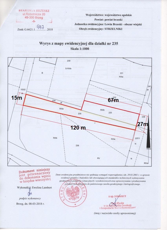 Działka budowlana : Łosiów, Strzelniki, Brzeg