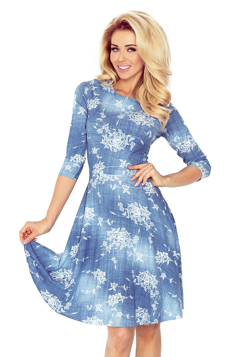 2f39e18435 Rozkloszowana sukienka z rękawem 3 4 KWIATY JEANS - 6996204569 ...