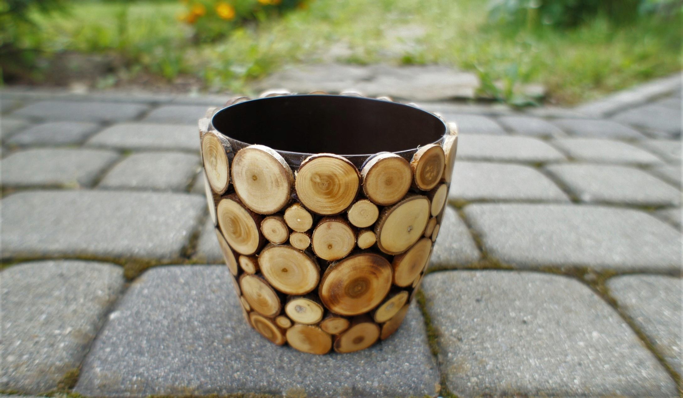 Mała Drewniana Doniczka Ręcznie Robiona 6921110701