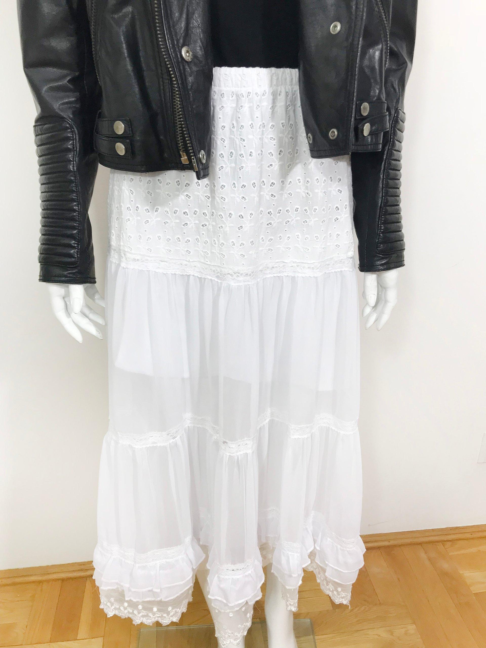 ed4ef362 zwiewna biała spódnica boho midi koronka ażurowa - 7064272171 ...