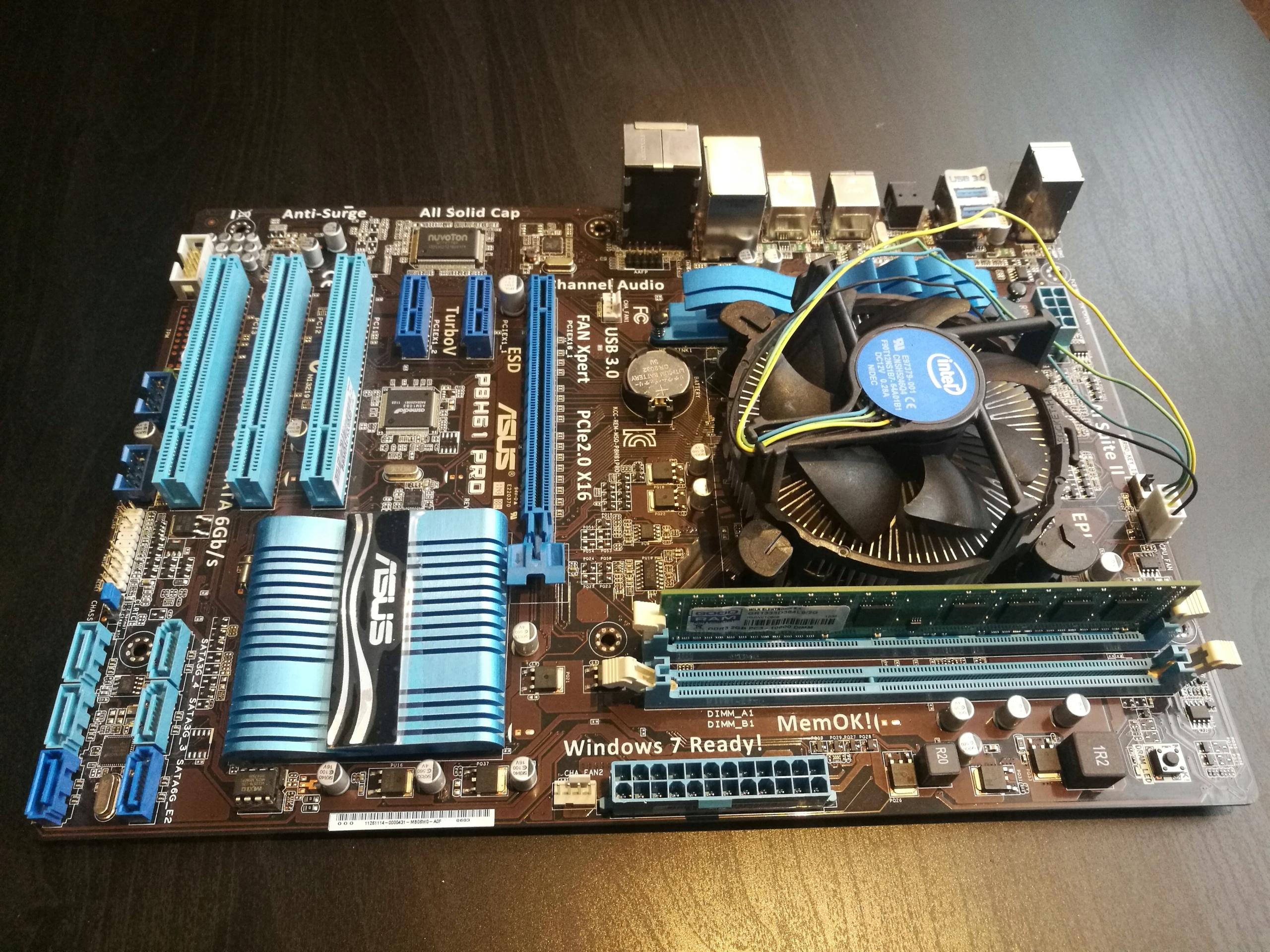 Asus P8H61 Pro, Intel Core i3 - 2120, Ram 2GB