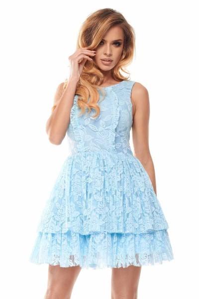 2cf6072a59 Sukienka z plisowanej koronki LILA - błękitna L - 7283889824 ...