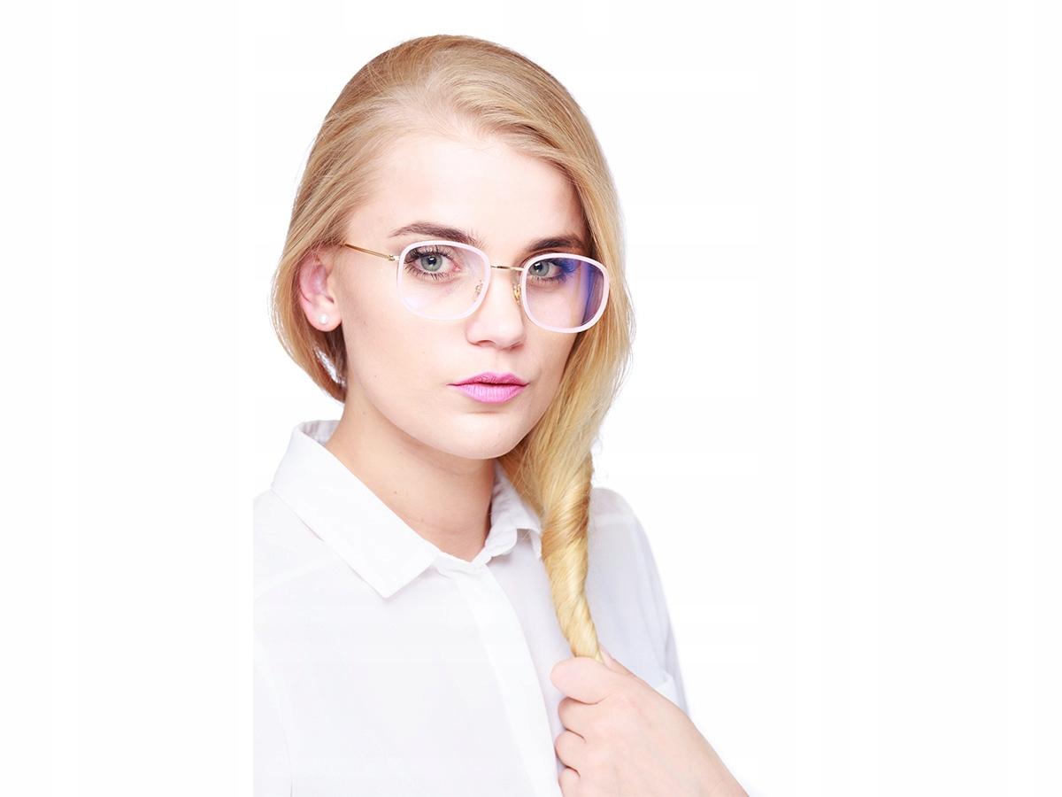 Kwadratowe okulary ZERÓWKI DASMKIE z REFLEKSEM