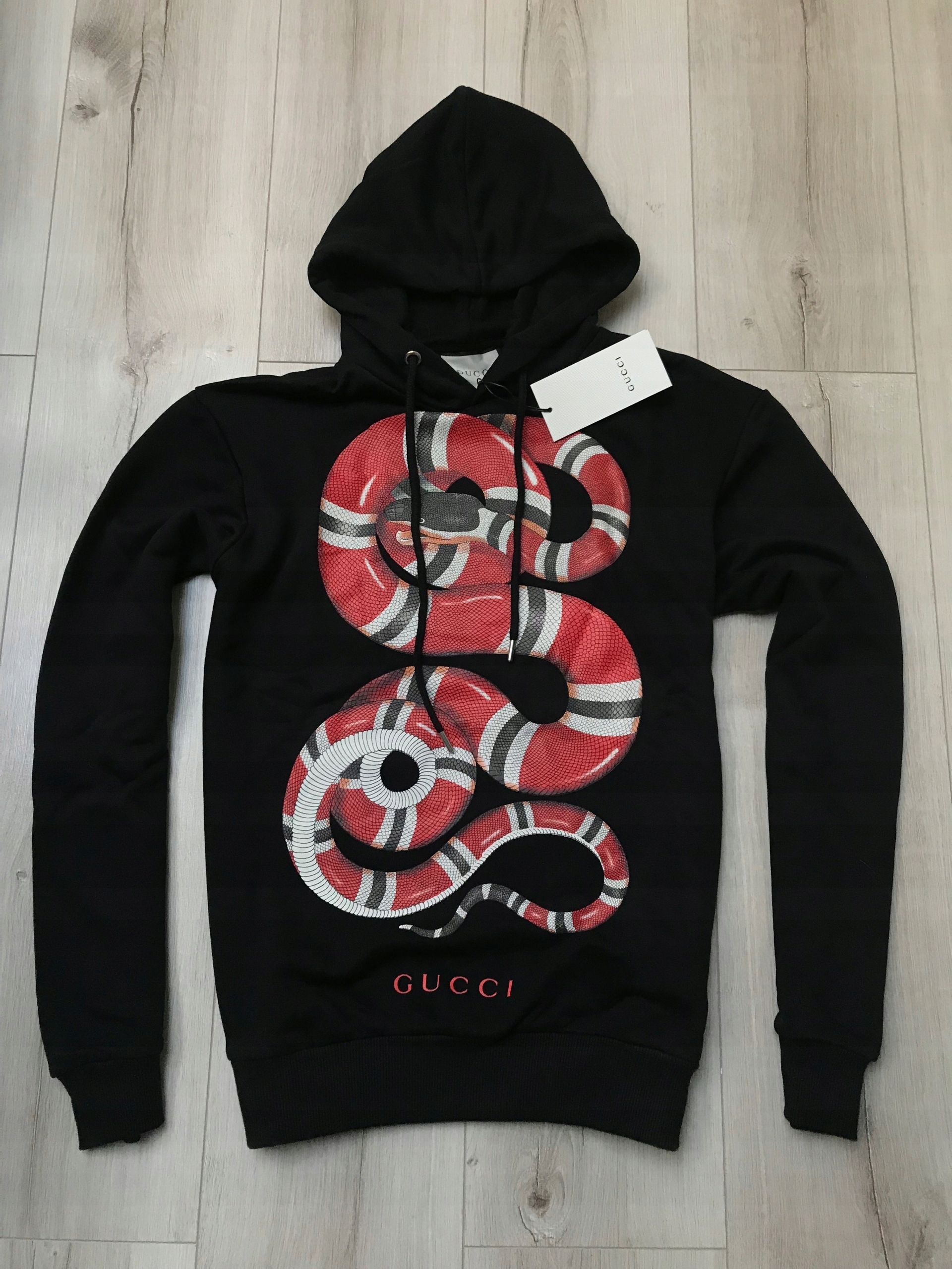 102363912a42 Czarna bluza z kapturem Gucci Snake XL - 7582546316 - oficjalne ...