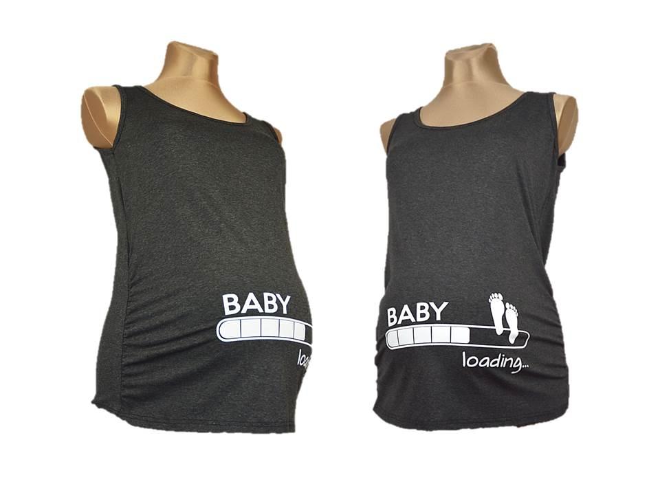 02de1634982871 Top Bluzka Koszulka Ciążowa Nadruk Baby Loading - 6642811166 ...