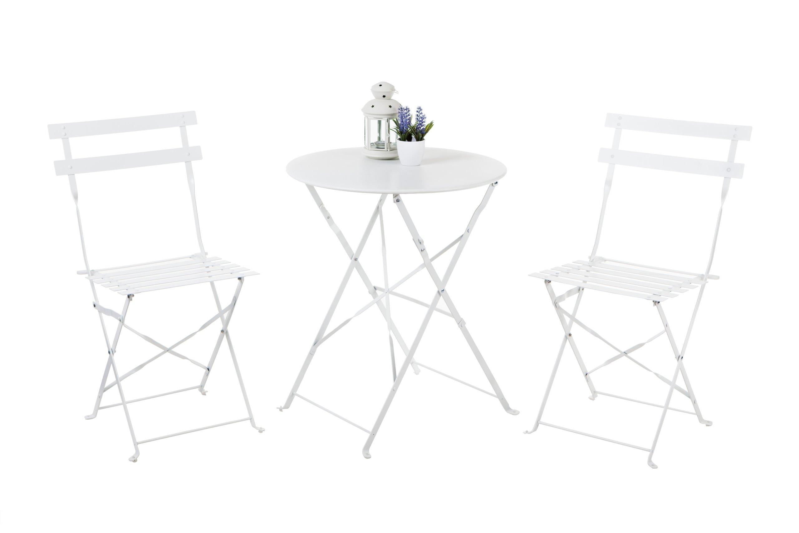Zestaw Stolik 2 Krzesła Składane Metalowe Białe