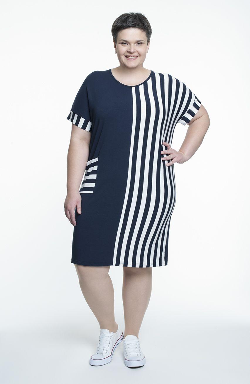990eb01336 Granatowa sukienka w marynarskim stylu 62 - 7427064881 - oficjalne ...