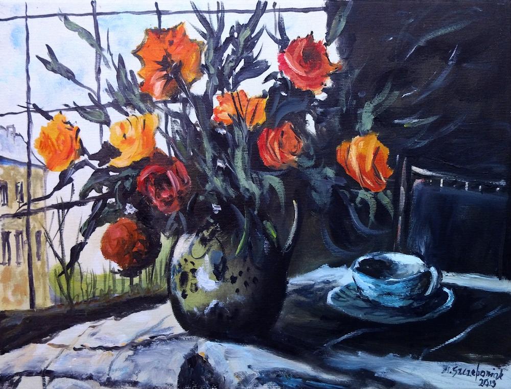 M.Szczepaniak `Kwiaty w wazonie` 40x30 cm