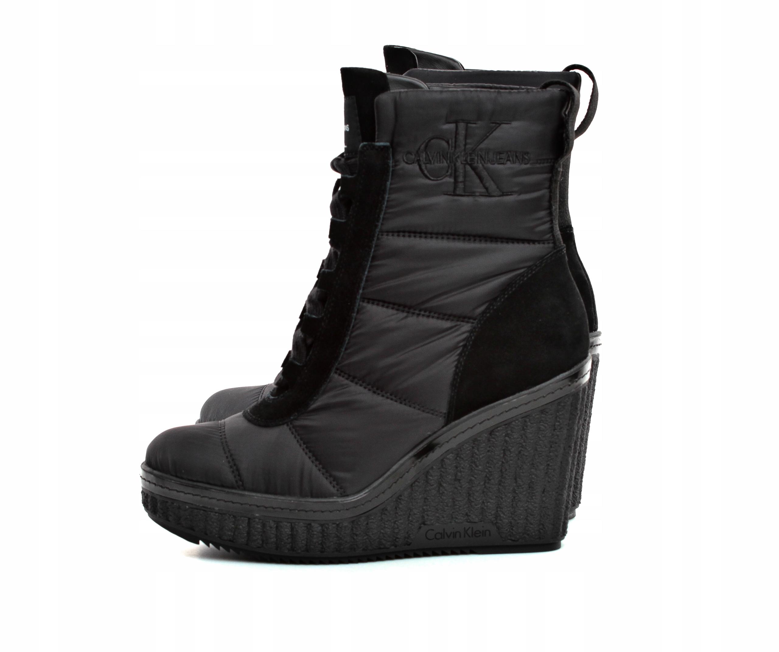 8f795e78fa0c1 Botki Damskie Calvin Klein Jeans Czarne r.36 - 7598512029 ...