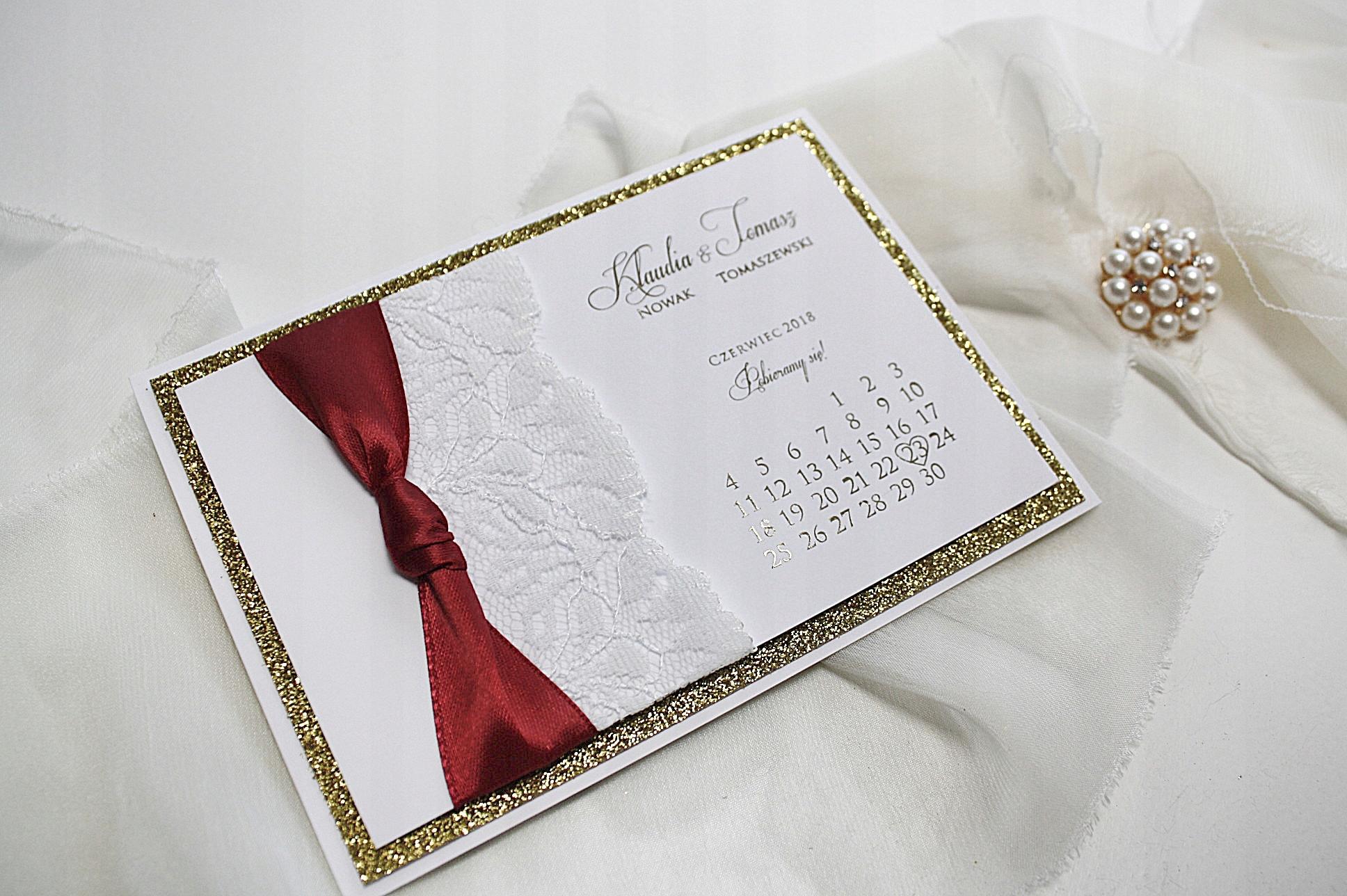 Zaproszenia ślubne Glamour Bordo Ciemna Czerwień 7464419190
