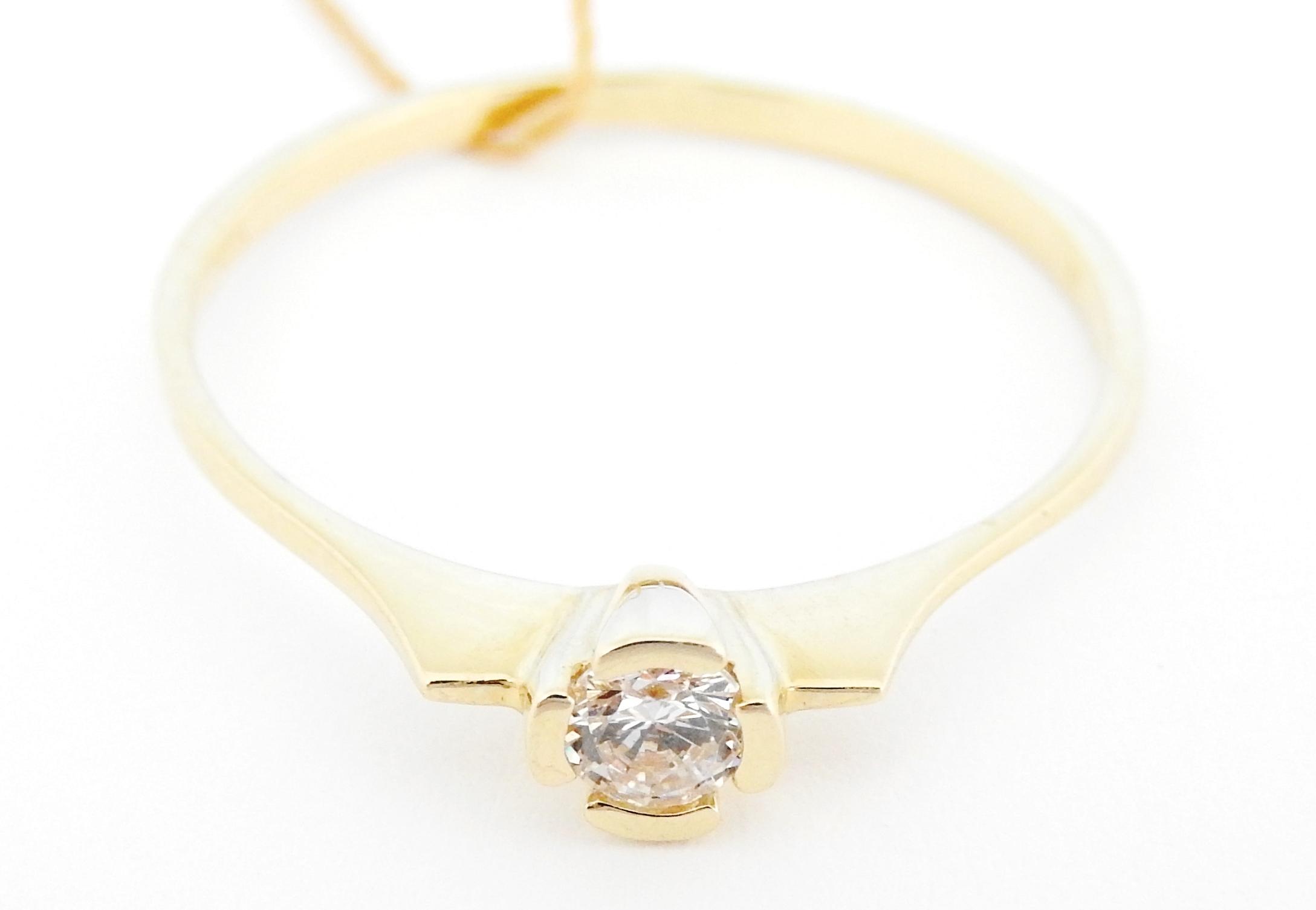 Piękny Złoty Pierścionek Cyrkonia 585 Verona R 19 6930705731