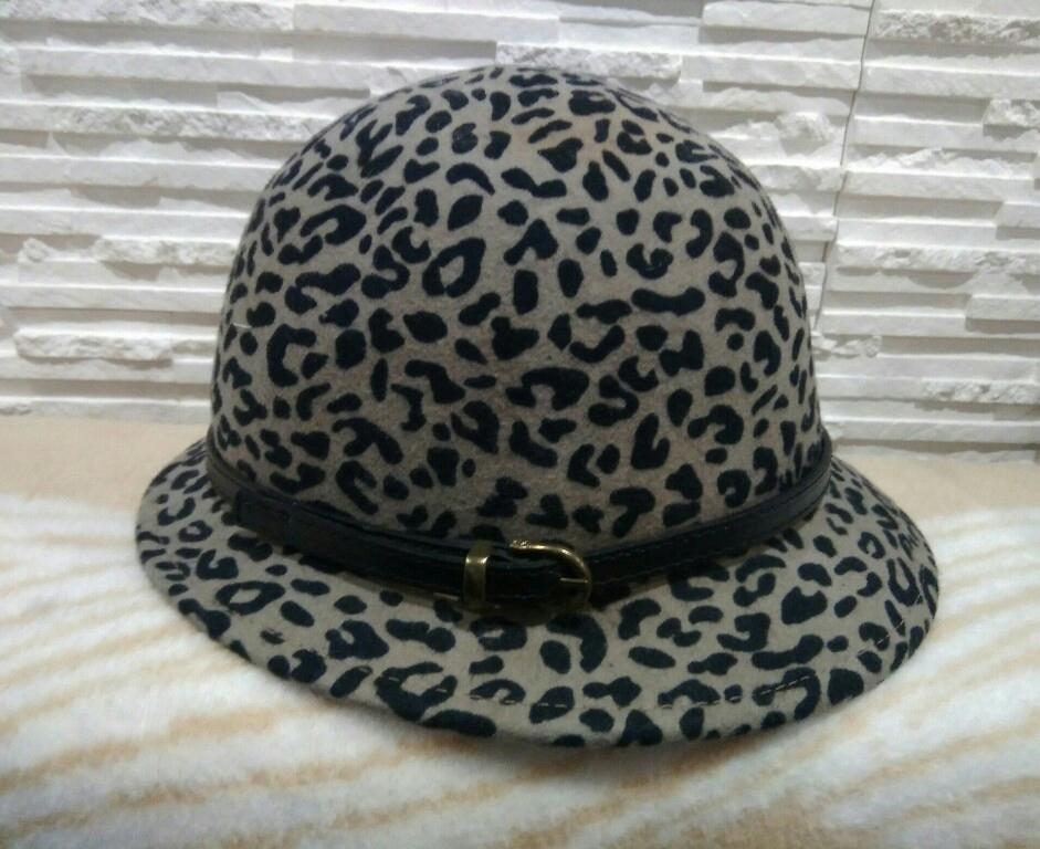 H&M wełniany kapelusz w cętki panterka 56