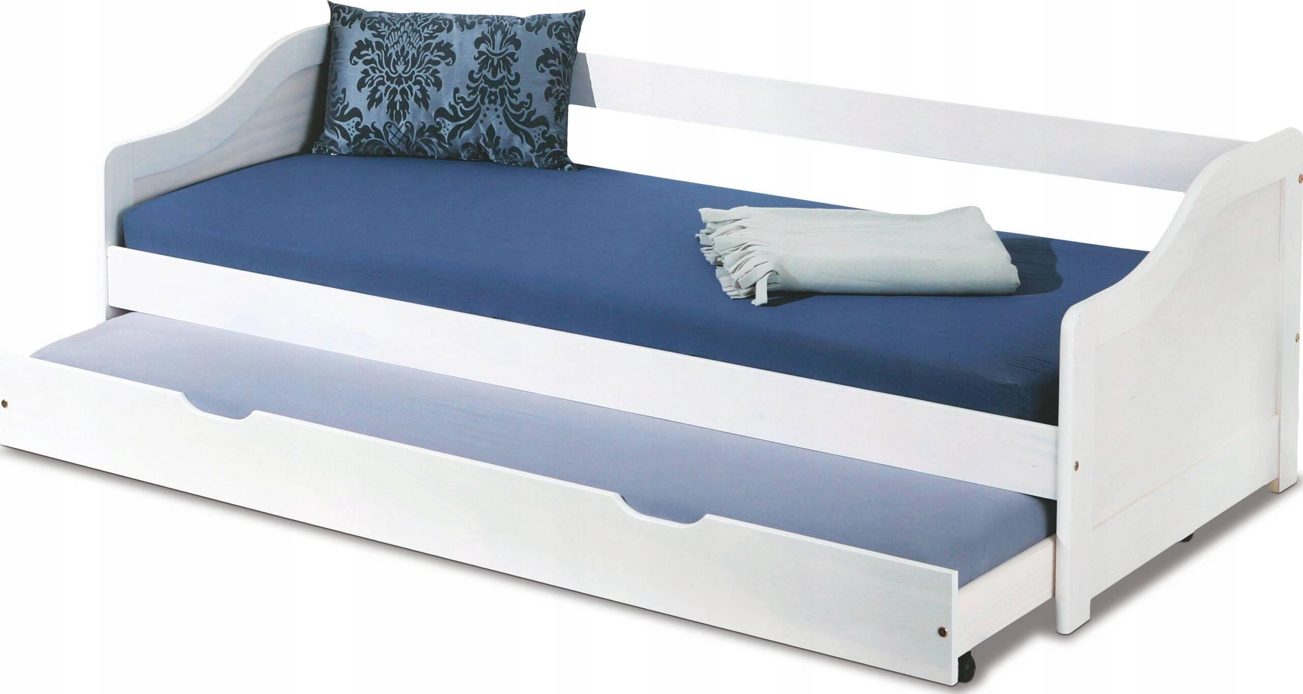 łóżko Białe Młodzieżowe Podwójne Szybka Dostawa 6879729942