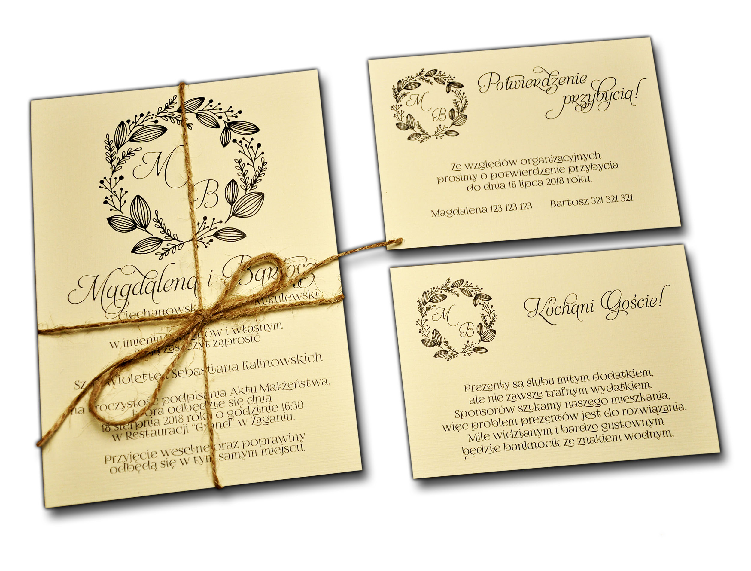 Zaproszenia ślubne Na ślub Rustykalne Boho Eko 7133442554