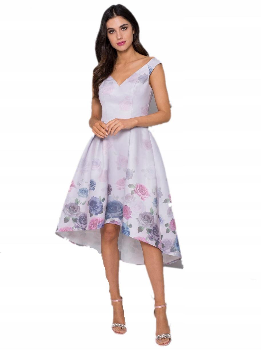 1052ed64051267 CHI CHI LONDON sukienka kwiaty liliowa XXL 44 - 7570428468 ...