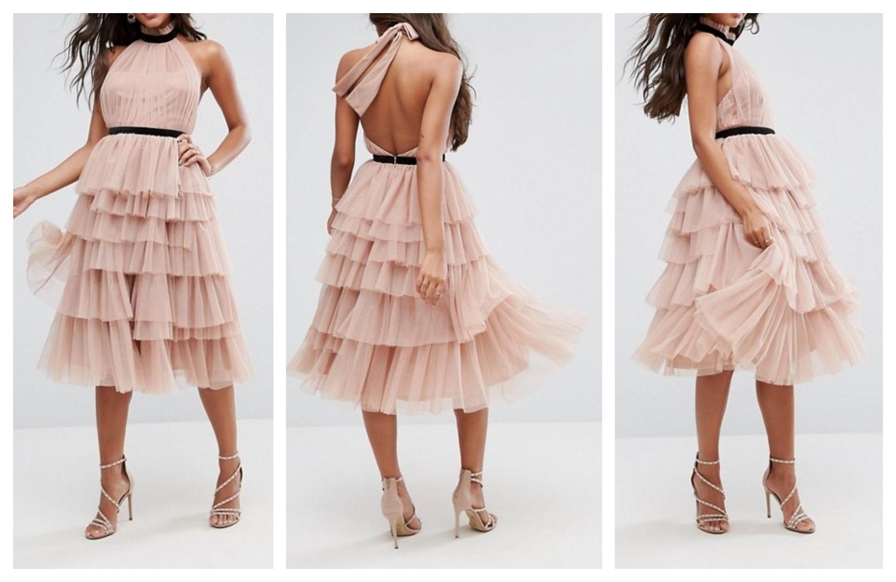 d0c201c690cdbf ex29 sukienka tiulowa falbany wesele XS/S 34/36 - 7310963898 ...