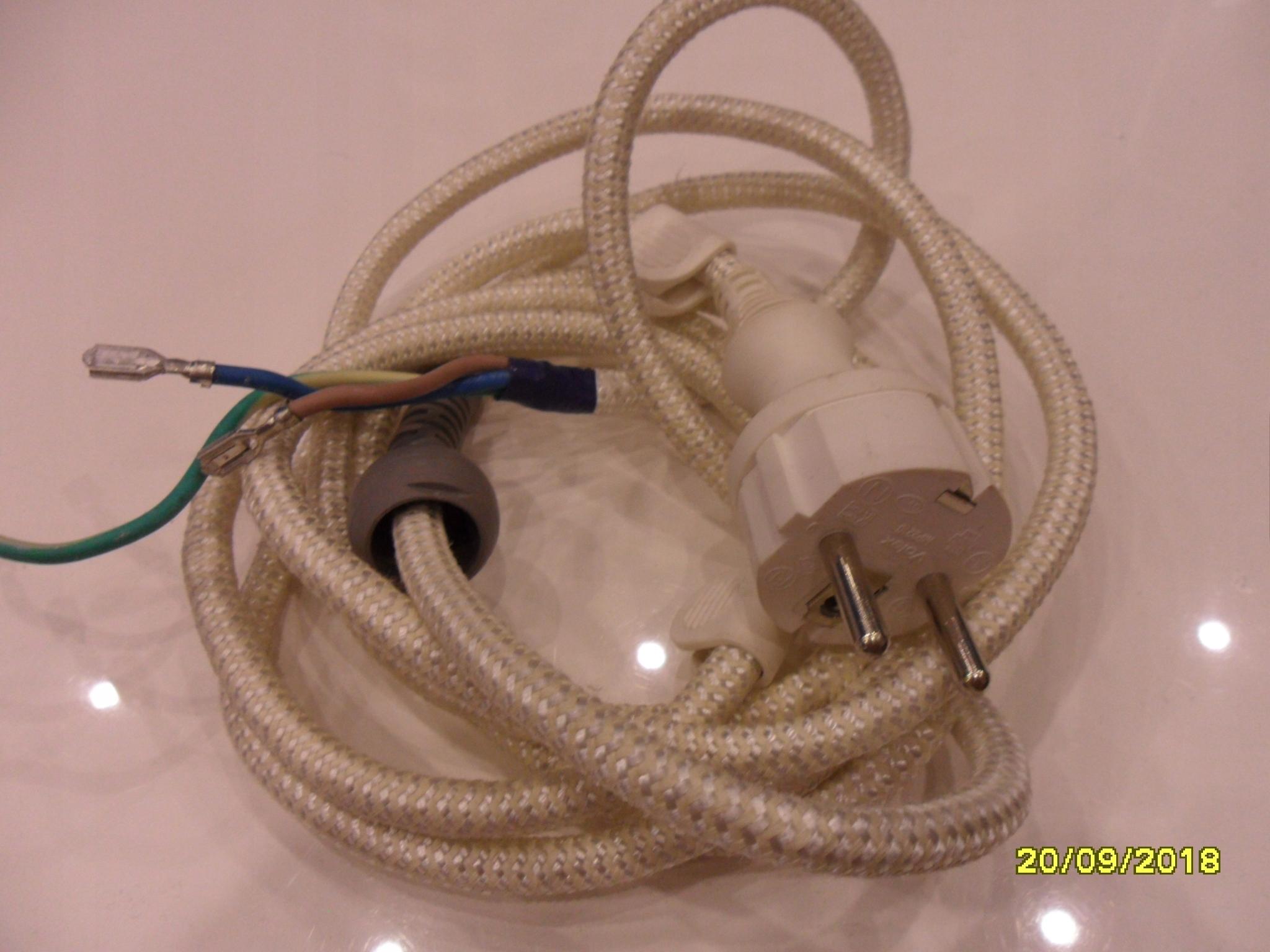 Kabel zasilający w osłonie bawełnianej - 2,5 mb.