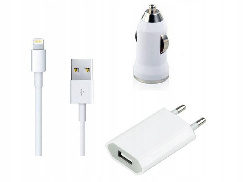 Ładowarka USB APPLE 5 6 7+ samochodowa kabel 8 pin