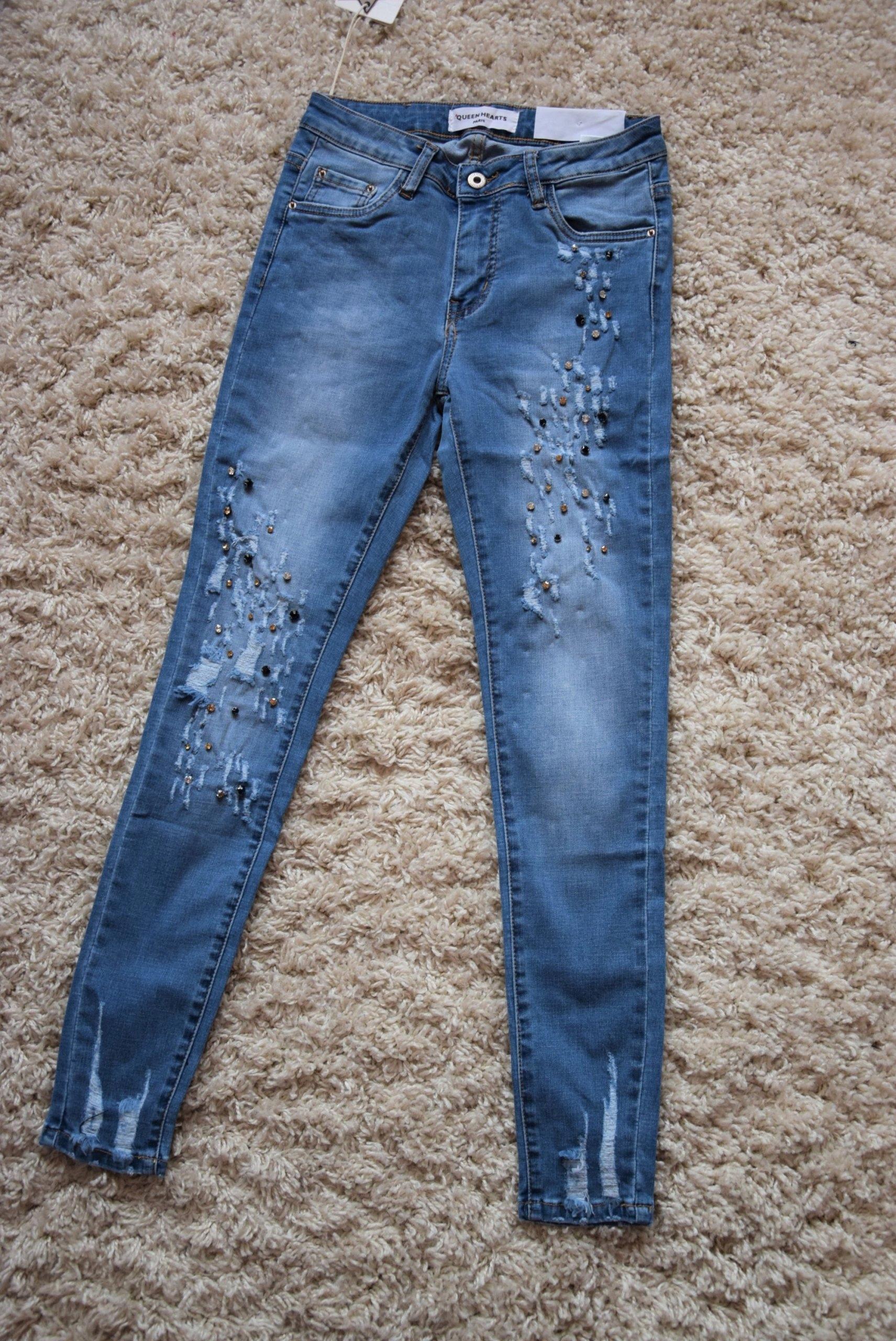 7d0f52b7977fa7 Spodnie jeans skinny z cyrkoniami dziury modne M - 7236867298 ...