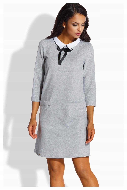 83f94f0648 Sukienka elegancka kołnierzyk Lemoniade L222 jasno - 7403846364 ...