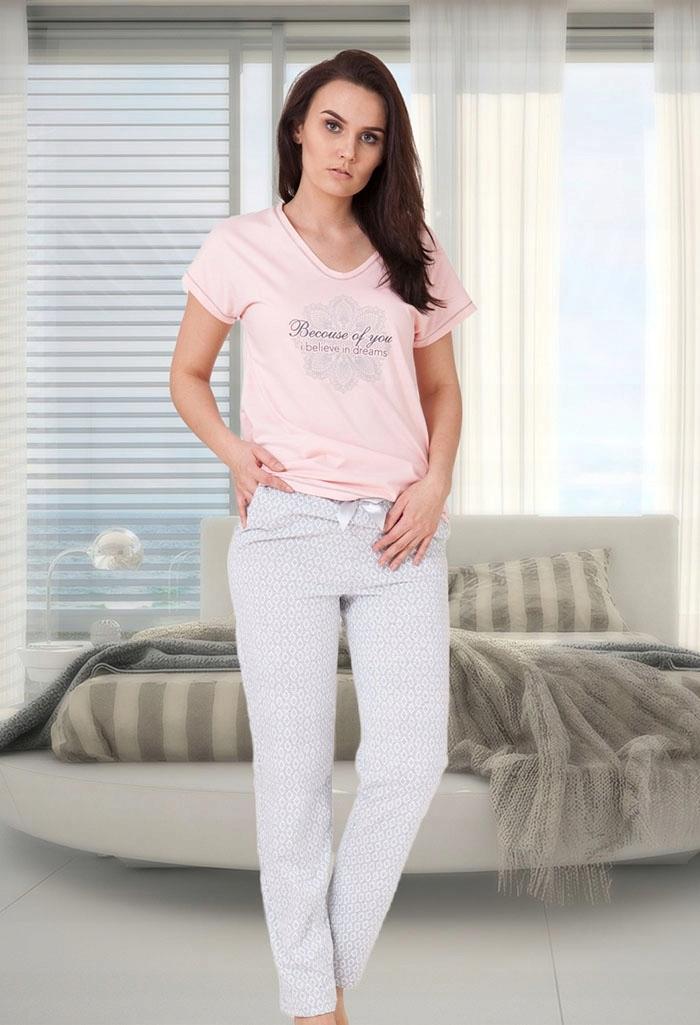 1460528f6a00e7 Piżama Damska Bawełniana Luiza roz: 2XL Różowa - 7566809325 ...