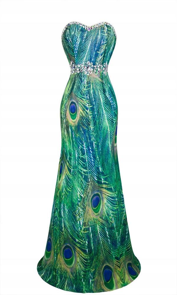 121b88e5e0 Suknia w pawie pióra sukienka wieczorowa długa S - 6227567983 ...