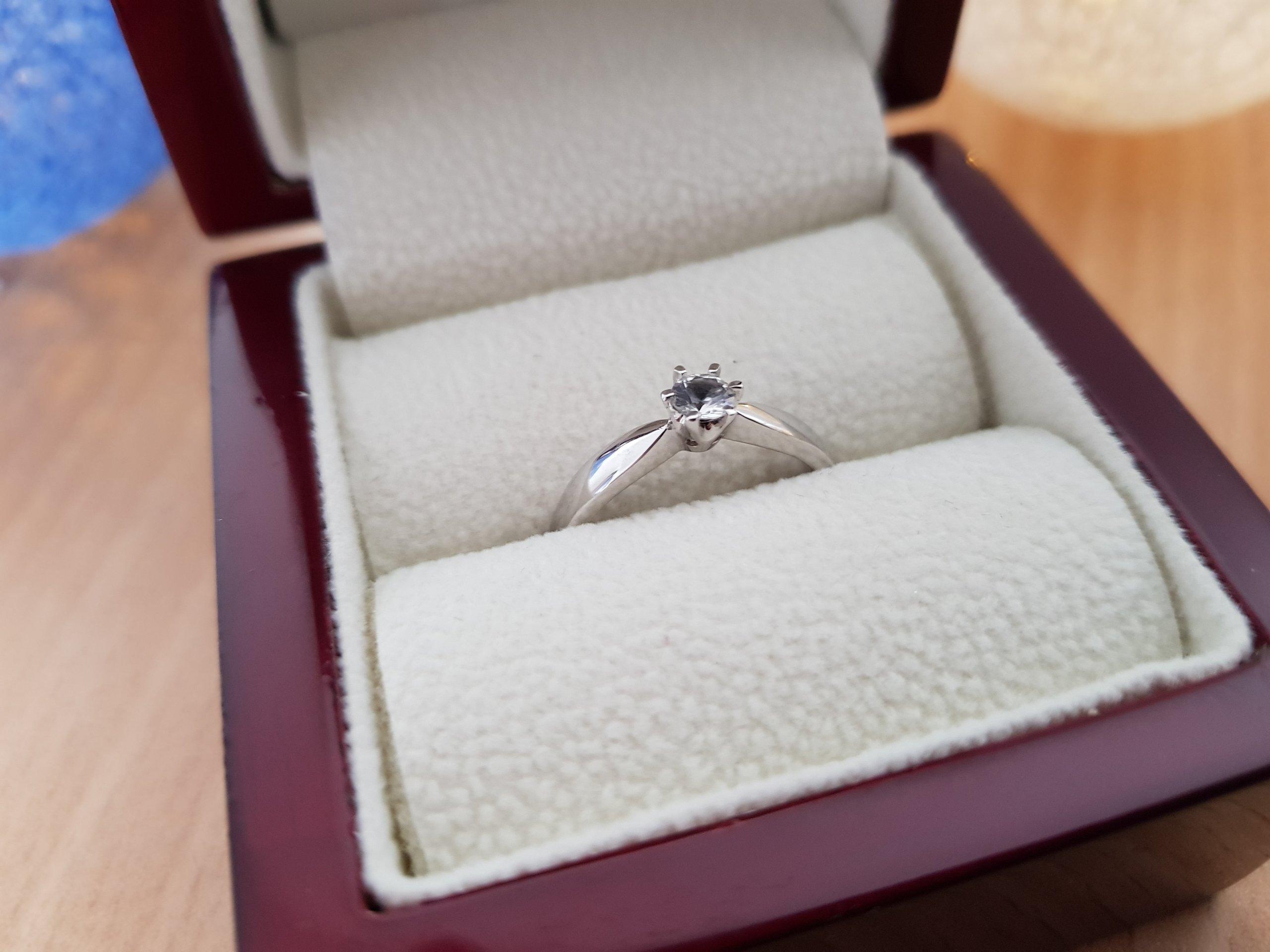 Pierścionek Zaręczynowy Szafir Białe Złoto 7166099145 Oficjalne
