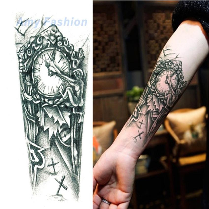 Tatuaz Zmywalny Zegar Czas Czarno Biały Tattoo