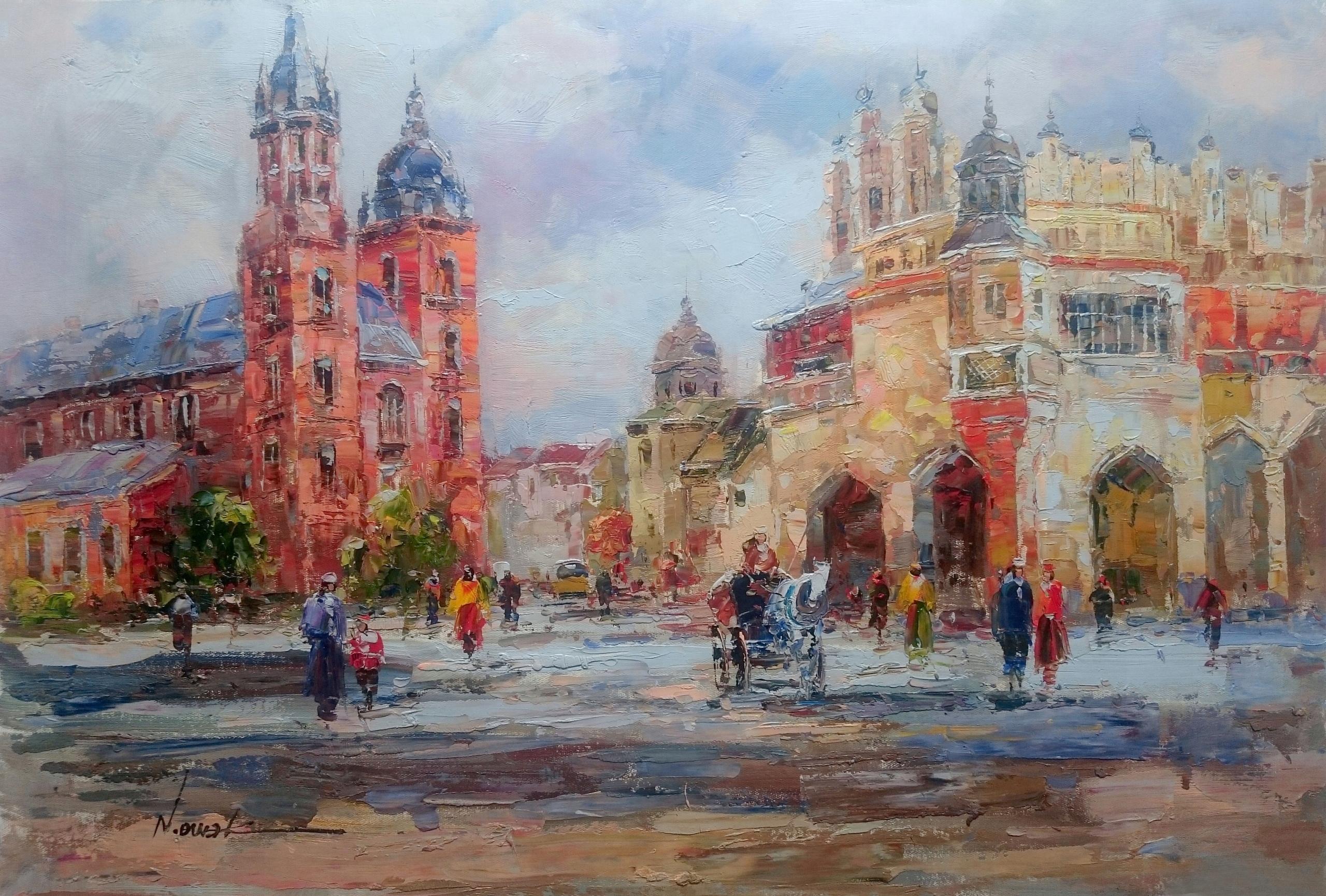 Obraz Olejny Impresjonizm Kraków Sukiennice 7572209716 Oficjalne
